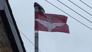 parachute regiment flags on lampost