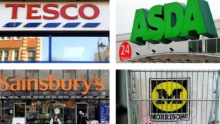 Logos of the big four supermarkets