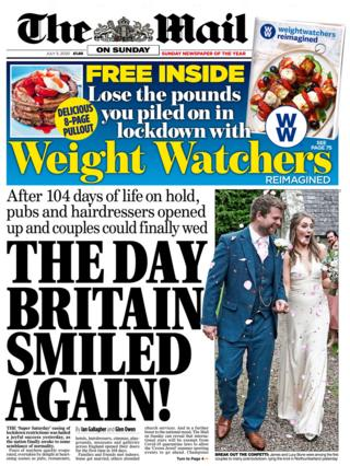The Mail on Sunday front page 05.07.20