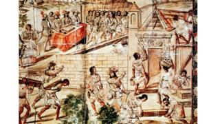 Ilustración de la llegada de los europeos