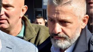 Naser Oric leaves court in Sarajevo on 9 October 2017
