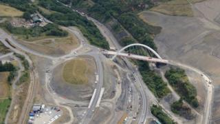 An aerial photograph of the project