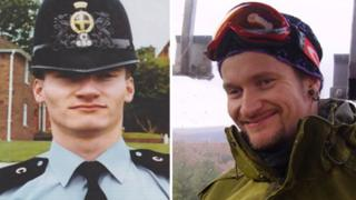 Mark Kennedy (left) in his police uniform and (right) in his undercover days, when he used the name Mark Stone