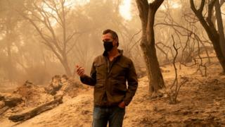 California Governor Gavin Newsom is investigating the damage caused by the fire of the northern complex in Butte County, California, United States, on September 11, 2020