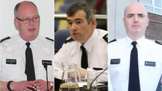 PSNI Chief Constable George Hamilton (left), Deputy Chief Constable Drew Harris (centre) and Assistant Chief Constable Mark Hamilton