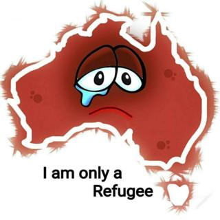 "A drawing by EatenFish, showing a map of Australia, with two crying eyes, and the words ""I am only a refugee"""