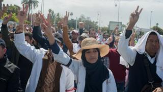 Des enseignants marocains manifestant le 24 mars 2019 à Rabat
