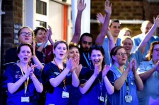 in_pictures NHS staff applaud outside the Dorset County Hospital in Dorchester