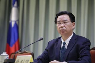 Taiwan Foreign Minister Joseph Wu speaks during a press conference in Taipei, Taiwan, 01 May 2018. Wu announced that the Dominican Republic is cutting diplomatic ties with Taiwan and establishing diplomatic ties with China. EPA/RITCHIE B. TONGO