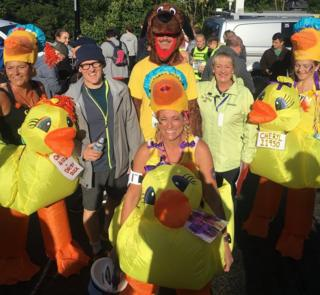 Great North Run participants dressed as dogs ducks