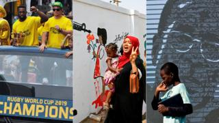 L: South Africa's winning Rubgy World Cup team C: A woman celebrating in Khartoum, Sudan R: Someone pictured in front of an image of Zimbabwe's former President Robert Mugabe