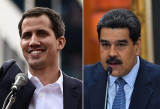 Juan Guaidó ve Nicolás Maduro