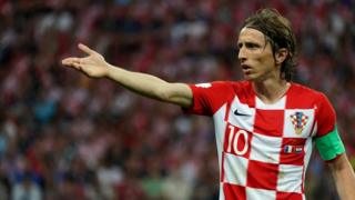 Luka Modric of Croatia in action during the 2018 FIFA World Cup Russia Final between France and Croatia at Luzhniki Stadium on July 15, 2018