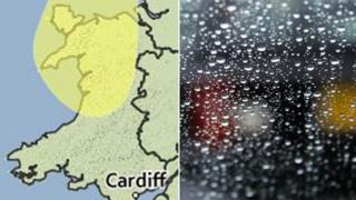 The Met Office map of Wales showing the affected area and a windscreen with rain drops