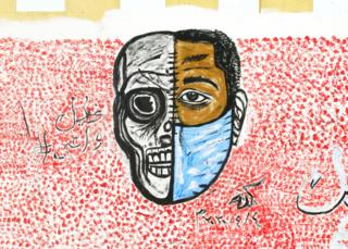 in_pictures Graffiti on a wall showing a half skull, half face in a mask in Khartoum, Sudan - Wednesday 8 April 2020