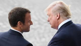 Presidents Macron and Trump in July 2017