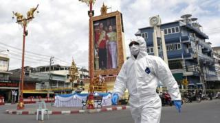 A Thai forensic police officer at the scene of the blast in Hua Hin