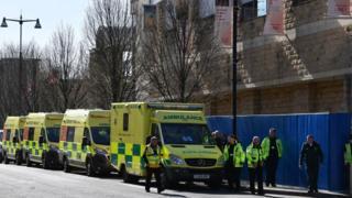 Ambulances outside Nightingale Hospital Yorkshire and the Humber set up at the Harrogate