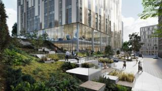 Artist's impression of proposed offices at Sirocco site in Belfast