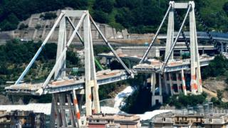 The remaining towers of Genoa's Morandi motorway bridge that are to be destroyed with explosives, seen in red on the concrete structure below, 27 June 2019