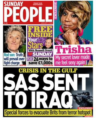 Sunday People front page 5 January 2020