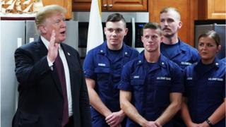 US President Donald Trump visits with personnel at US Coast Guard Station Lake Worth Inlet in Riviera Beach, Florida, on Thanksgiving Day