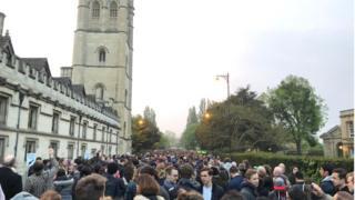 Crowds at Magdalen College