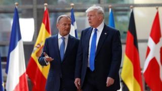 دونالد تاسک، ریس شورای اروپا و دونالد ترامپ رییس جمهور آمریکا