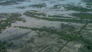 An aerial photo of the flooding in Malawi