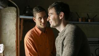 Oliver Jackson-Cohen and James McArdle in Man in an Orange Shirt