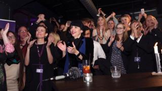 Birgitta Jonsdottir (C) of the Pirate Party and fellow pirates celebrate the incoming results of parliamentary elections in Iceland, October 29, 2016