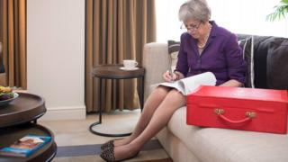 Theresa May preparing for her conference speech in Birmingham