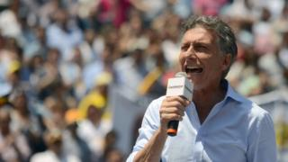 Buenos Aires Mayor Mauricio Macri, speaks during a rally in Buenos Aires, on November 7, 2015.