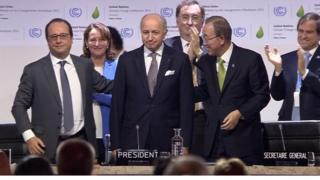 "The French president (left) called on nations to adopt ""the first universal agreement on climate""."