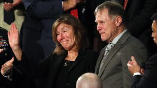 Otto Warmbier's parents wave to crowd at the State of the Union on 30 January 2018