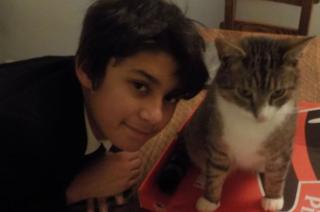 William McArthur and Whisky the cat