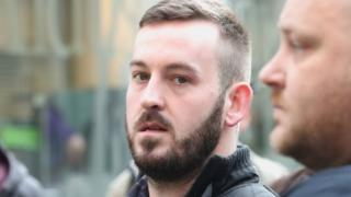 "James Goddard arriving at Manchester Magistrates"" Court"