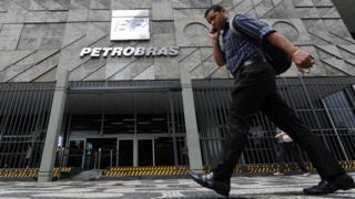 The facade of the Petrobras building in Rio de Janeiro, Brazil