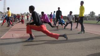 Early morning training in a stadium in the capital Asmara