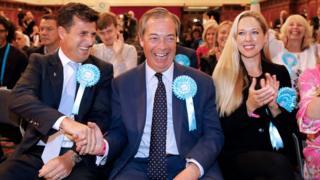 Brexit Partisi lideri Nigel Farage (ortada) AP seçiminde zafer kazandı