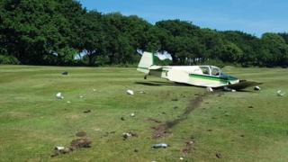 The crashed aircraft at Shanklin and Sandown Golf Club