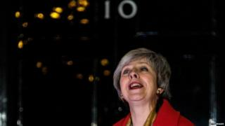 Theresa May at the switching-on of the Downing Street Christmas tree