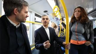 Sadiq Khan on a bus