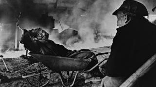 Bilston steel: Blast furnace workers relaxing