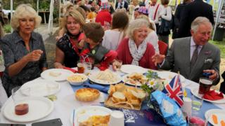 The Prince of Wales and Duchess of Cornwall at the street party