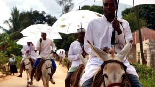 Donkeys riders procession