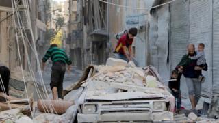 Алеппо после одной из бомбежек