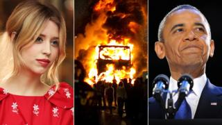 hollywood Peaches Geldof, a bus burning during the London riots, and Barack Obama