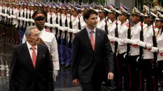 raul castro y Justin Trudeau