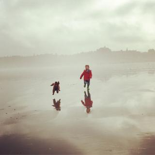 Boy and puppy enjoying a run on the beach at St Andrews.